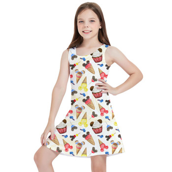 Girls Sleeveless Dress - Mouse Ears Snacks in Primary Color Watercolor