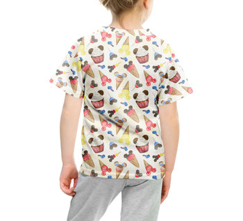 Youth Cotton Blend T-Shirt - Mouse Ears Snacks in Primary Color Watercolor