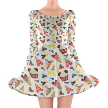 Longsleeve Skater Dress - Mouse Ears Snacks in Primary Color Watercolor