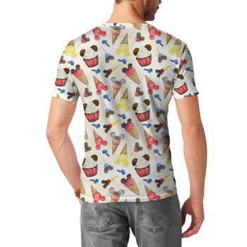 Men's Sport Mesh T-Shirt - Mouse Ears Snacks in Primary Color Watercolor