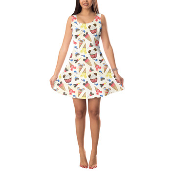 Sleeveless Flared Dress - Mouse Ears Snacks in Primary Color Watercolor