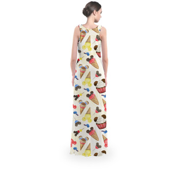 Flared Maxi Dress - Mouse Ears Snacks in Primary Color Watercolor