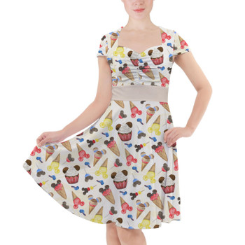 Sweetheart Midi Dress - Mouse Ears Snacks in Primary Color Watercolor