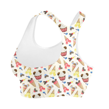 Sports Bra - Mouse Ears Snacks in Primary Color Watercolor