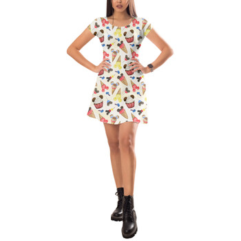 Short Sleeve Dress - Mouse Ears Snacks in Primary Color Watercolor