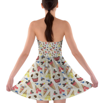 Sweetheart Strapless Skater Dress - Mouse Ears Snacks in Primary Color Watercolor