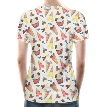 Women's Cotton Blend T-Shirt - Mouse Ears Snacks in Primary Color Watercolor