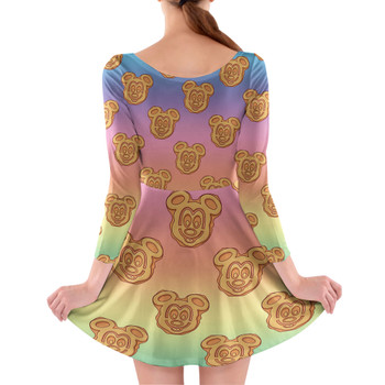 Longsleeve Skater Dress - Mickey Waffles Rainbow