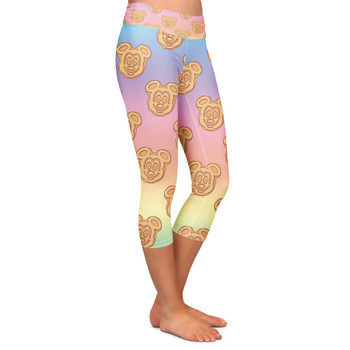 Yoga Capri Leggings - Mickey Waffles Rainbow