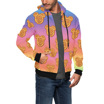 Men's Zip Up Hoodie - Mickey Waffles Rainbow