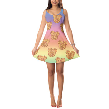 Sleeveless Flared Dress - Mickey Waffles Rainbow