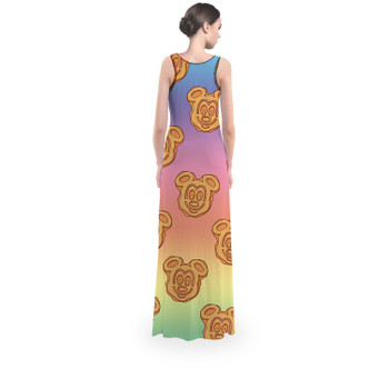Flared Maxi Dress - Mickey Waffles Rainbow