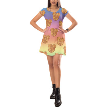 Short Sleeve Dress - Mickey Waffles Rainbow
