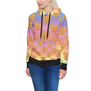 Women's Zip Up Hoodie - Mickey Waffles Rainbow