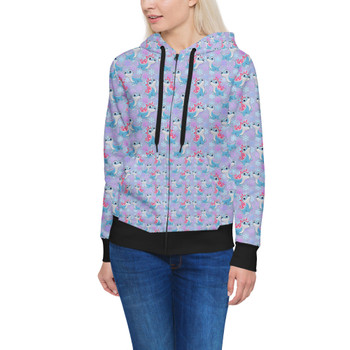 Women's Zip Up Hoodie - Bruni the Fire Spirit