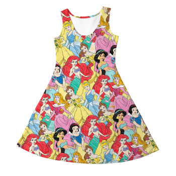 Girls Sleeveless Dress - Princess Sketches