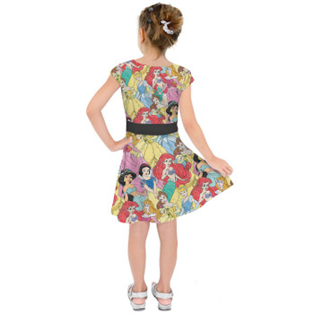Girls Short Sleeve Skater Dress - Princess Sketches