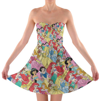 Sweetheart Strapless Skater Dress - Princess Sketches