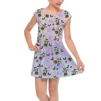 Girls Cap Sleeve Pleated Dress - The Asset Goes To Disney SW Inspired Watercolor