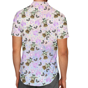 Men's Button Down Short Sleeve Shirt - The Asset Goes To Disney SW Inspired Watercolor