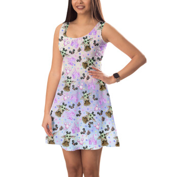 Sleeveless Flared Dress - The Asset Goes To Disney SW Inspired Watercolor