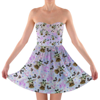 Sweetheart Strapless Skater Dress - The Asset Goes To Disney SW Inspired Watercolor