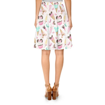 A-Line Skirt - Mouse Ears Snacks in Pastel Watercolor