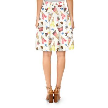 A-Line Skirt - Mouse Ears Snacks in Primary Color Watercolor