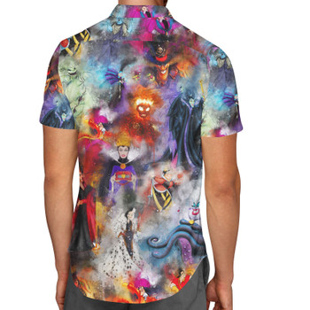 Men's Button Down Short Sleeve Shirt - Watercolor Villains