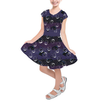 Girls Short Sleeve Skater Dress - Oogie Boogie Halloween Inspired