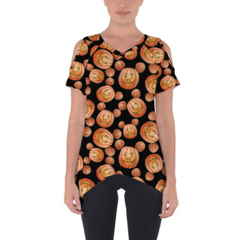 Cold Shoulder Tunic Top - Mouse Ears Pumpkins Halloween Inspired