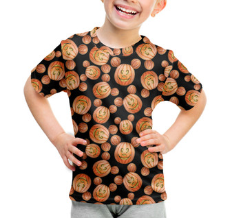 Youth Cotton Blend T-Shirt - Mouse Ears Pumpkins Halloween Inspired