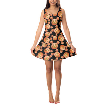 Sleeveless Flared Dress - Mouse Ears Pumpkins Halloween Inspired