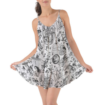 Beach Cover Up Dress - Nightmare Sketches Halloween Inspired