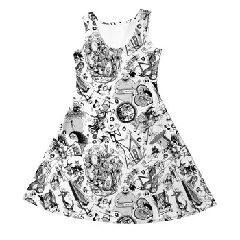 Girls Sleeveless Dress - Nightmare Sketches Halloween Inspired