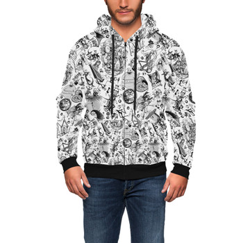 Men's Zip Up Hoodie - Nightmare Sketches Halloween Inspired