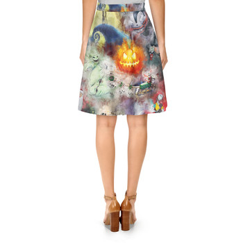 A-Line Skirt - Watercolor Nightmare Before Christmas