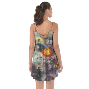 Beach Cover Up Dress - Watercolor Nightmare Before Christmas