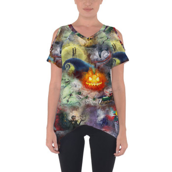 Cold Shoulder Tunic Top - Watercolor Nightmare Before Christmas