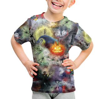 Youth Cotton Blend T-Shirt - Watercolor Nightmare Before Christmas