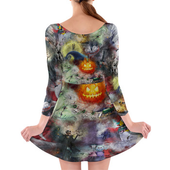 Longsleeve Skater Dress - Watercolor Nightmare Before Christmas