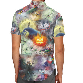 Men's Button Down Short Sleeve Shirt - Watercolor Nightmare Before Christmas
