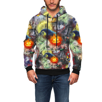 Men's Zip Up Hoodie - Watercolor Nightmare Before Christmas