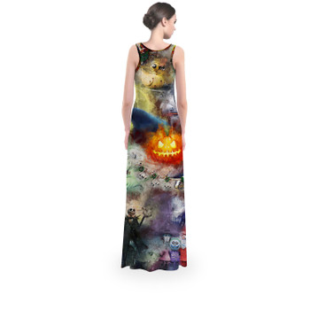 Flared Maxi Dress - Watercolor Nightmare Before Christmas