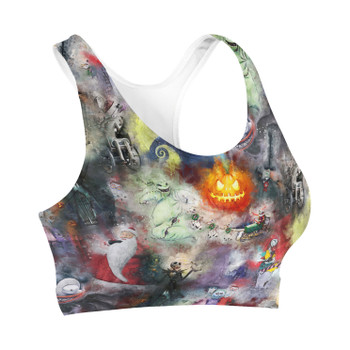Sports Bra - Watercolor Nightmare Before Christmas