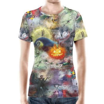 Women's Cotton Blend T-Shirt - Watercolor Nightmare Before Christmas