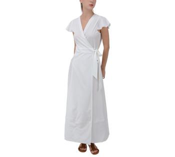 Flutter Sleeve Waist Tie Maxi Dress