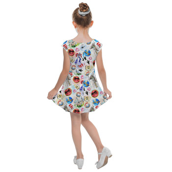 Girls Cap Sleeve Pleated Dress - A Universal Adventure