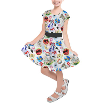 Girls Short Sleeve Skater Dress - A Universal Adventure