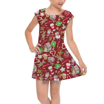 Girls Cap Sleeve Pleated Dress - Disney Christmas Snack Goals
